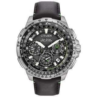 Citizen Men's Black Leather Stainless Steel Promaster Navihawk GPS Multifunction Eco-Drive Watch