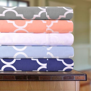 Superior Sateen 300 Thread Count Trellis Deep Pocket Cotton Sheet Set