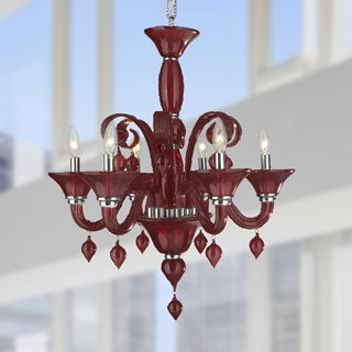 Murano Venetian Italian Style 6-light Blown Glass in Cranberry Red Finish Chandelier