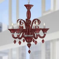 Venetian Italian Style 6-light Blown Glass in Cranberry Red Finish Chandelier
