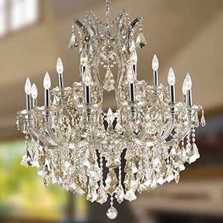 Maria Theresa Grand 19-light Chrome Finish and Golden Teak Royal Crystal Grand Chandelier