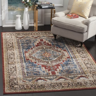Safavieh Bijar Traditional Oriental Royal Blue/ Brown Distressed Rug (5' 3 x 7' 6)