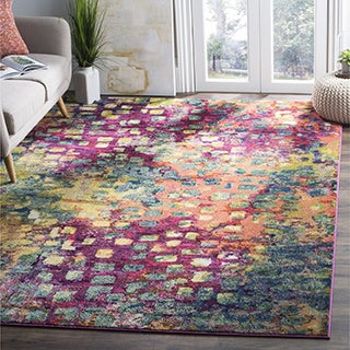 Safavieh Monaco Abstract Watercolor Pink/ Multi Distressed Rug (12' x 18')