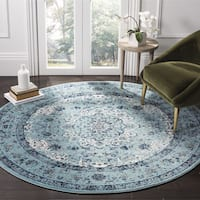 Safavieh Evoke Vintage Oriental Light and Dark Blue Distressed Rug - 5' 1 round