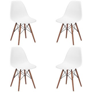 Poly and Bark Vortex Dining Chair with Walnut Legs (Set of 4) (2 options available)