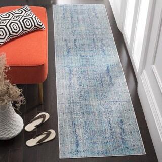 Safavieh Mystique Watercolor Light Blue/ Multi Silky Rug (2' 3 x 12')