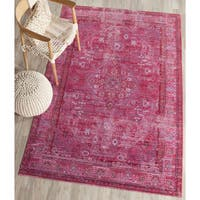 Safavieh Valencia Red/ Multi Overdyed Distressed Silky Polyester Rug (4' x 6')