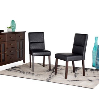 WYNDENHALL Seymour Black Diamond Patterned Faux Leather Dining Chair (Set of 2)
