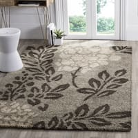 Safavieh Ultimate Shag Smoke/ Dark Brown Floral Area Rug - 5' Square