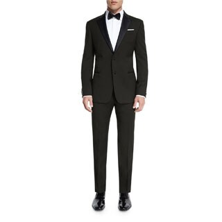Verno Men's Black Classic Fit Two-piece Nothch Collar Tuxedo With Pipping Finish