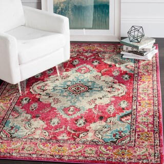 Safavieh Monaco Bohemian Medallion Pink/ Multicolored Distressed Rug (5' 1 x 7' 7)