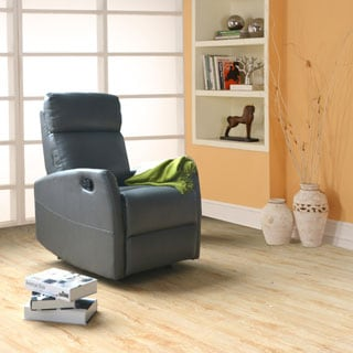 Porter Flynn Grey Breathable Faux Leather Contemporary Recliner