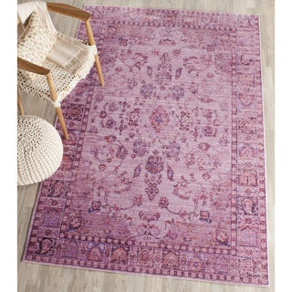 Safavieh Valencia Pink/ Multi Overdyed Distressed Silky Polyester Rug (9' x 12')