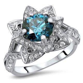 Noori Certified 14k Gold 1 4/5ct TDW Round Blue Diamond Engagement Ring (G-H, SI1-SI2)