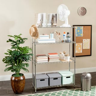 Safavieh Happimess Delta 4 Tier Heavy Duty Commercial Chrome Wire Shelf