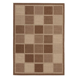 Berrnour Home Summer Collection Boxes Design Indoor/Outdoor Jute-backing Runner Rug (5'3 x7'3)