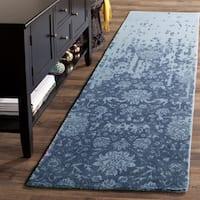 Safavieh Handmade Restoration Vintage Blue/ Dark Blue Wool Distressed Rug - 2' 3 x 8'