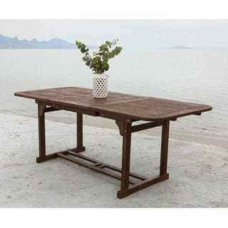 Dark Brown Acacia Wood Outdoor Dining Table