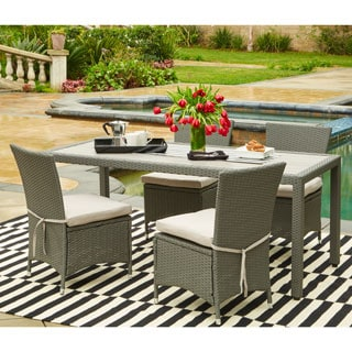 Handy Living Aldrich Grey Indoor/Outdoor 5-piece Rectangle Dining Set with Grey Cushions