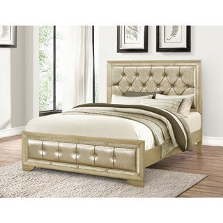 Abbyson Valentino Mirrored and Tufted Leather Queen Bed
