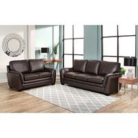 Abbyson London Top Grain Leather 2 Piece Living Room Set - Free ...