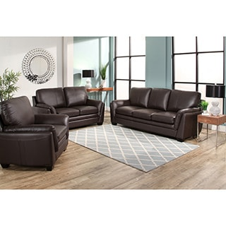 Abbyson Bella Brown Top Grain Leather 3 Piece Living Room Set