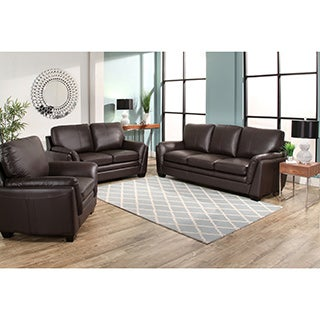 Abbyson Bella Brown Top Grain Leather 3 Piece Living Room Set Part 47