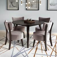 Atwood 4pc Round Dining Set with Grey Velvet Chairs