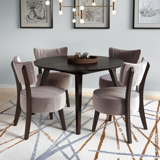 CorLiving DRG-897-Z1 Brown Rubberwood/MDF/Veneer Dining Set With Grey Velvet Soft Chairs (Pack of 5)