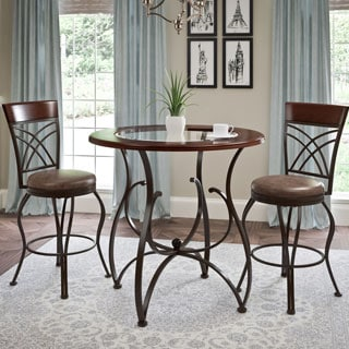 CorLiving 3pc Counter Height Rustic Barstool and Bistro Table Set