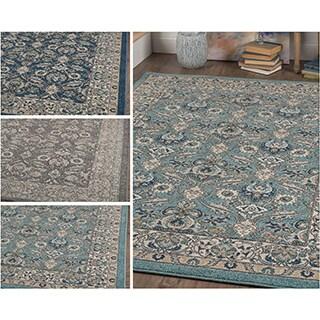Alise Rugs Kinsley Oriental Blue/Grey/Navy Polypropylene Area Rug (7'10 x 10'3)