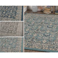 Alise Rugs Kinsley Oriental Blue/Grey/Navy Polypropylene Area Rug (7'10 x 10'3)