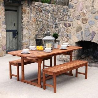 3-Piece Brown Acacia Patio Dining Set