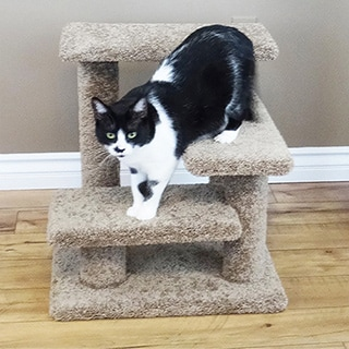 Crazy Pet Steps Carpet and Wood 21-inch Cat Climber