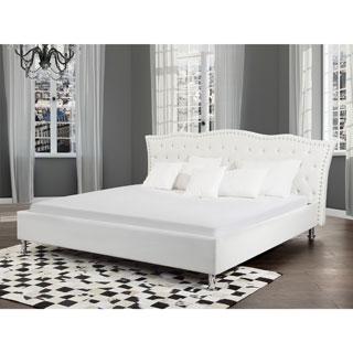 Metz White Leather Queen Size Platform Bed