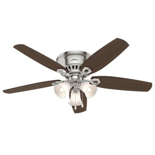Hunter Builder Deluxe Brushed Nickel 52-inch Ceiling Fan with 5 Brazilian Cherry/Harvest Mahogany Reversible Blades - Silver