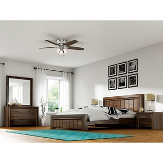 Hunter Builder Deluxe Brushed Nickel 52-inch Ceiling Fan with 5 Brazilian Cherry/Harvest Mahogany Reversible Blades