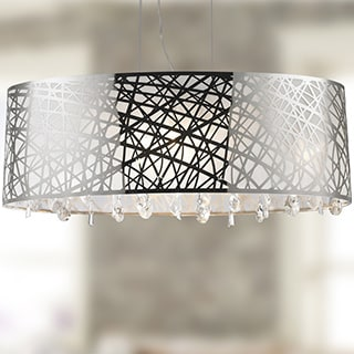 High Gloss Modern 8-light Halogen Chrome Finish Oval Drum Shade with Clear Crystal Chandelier