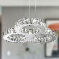 Galaxy 27 LED-light Chrome Finish and Clear Crystal Triple Ring Chandelier