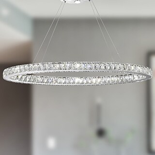 Galaxy 20 LED-light Chrome Finish and Clear Crystal Oval Ring Chandelier