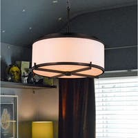 Simple Elegance 5-light LED Chrome Finish with Bisque Drum Shade