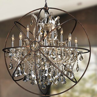Foucault's Orb Chandelier 13-light Chrome Finish Golden Teak Crystal Flemish Brass Finish Cage
