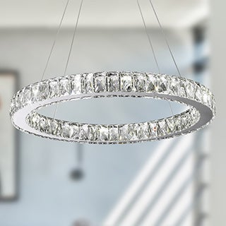 Galaxy 15-light LED Chrome Finish and Clear Crystal Circular Ring Chandelier