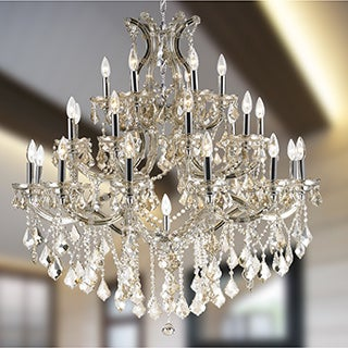 Maria Theresa Grand 3-tier 28-light Chrome Finish and Golden Teak Crystal Chandelier