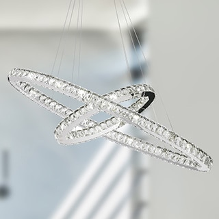 Galaxy 28-light LED Chrome Finish and Clear Crystal Modern Interlocking Ring Constellation Chandelier