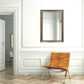 Waterfall Silver-framed Beveled Wall Mirror
