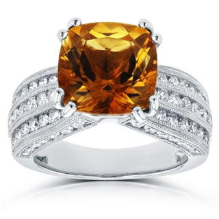 Annello by Kobelli 14k White Gold Cushion Orange Citrine and 1 1/5ct TDW Diamond Multi-Row Channel R