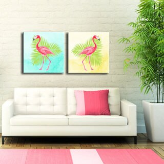 Ready2HangArt 'Flamingo I/II' 2-PC Wrapped Canvas Art Set