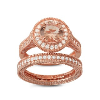 Gioelli Rose Gold over Silver Synthetic Morganite 2-Piece Bridal Ring Set