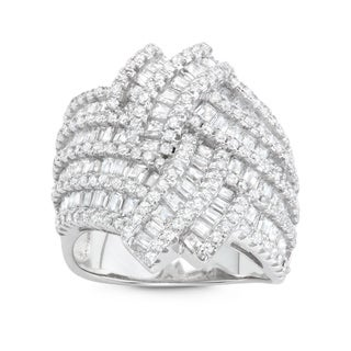 Gioelli Sterling Silver Pave Cubic Zirconia Cocktail Ring